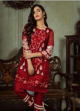 Azure Embroidered  Stitched 2 Piece Suit AZU18-C2 RED MELANGE