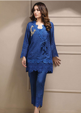 Azure Embroidered Cotton Net Stitched 2 Piece Suit AZU19CN 03 ELECTRIC BLUE