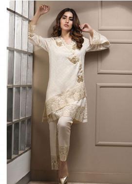 Azure Embroidered Cotton Net Stitched 2 Piece Suit AZU19CN 06 CLASSIC IVORY