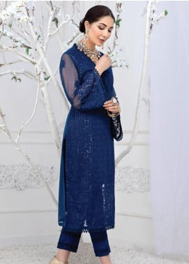 Azure Embroidered Chiffon Unstitched Kurties AZU20F Sapphire Sea 06 - Formal Luxury Collection