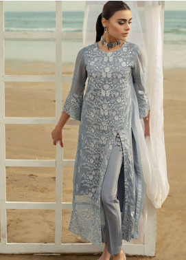 Azure Embroidered Chiffon Unstitched Kurties AZU19-K2 14 DELICACY PERSONA - Luxury Collection