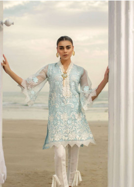 Azure Embroidered Organza Unstitched Kurties AZU19-K2 3 ICE AURORA - Luxury Collection