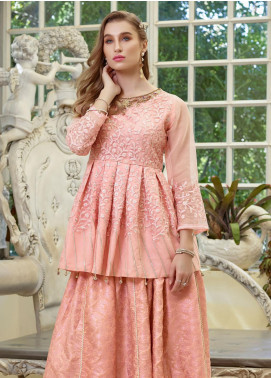 Azure Embroidered Organza Unstitched Kurties AZU19F 03 PEACHY MIST - Festive Collection