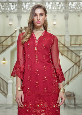 Azure Embroidered Chiffon Unstitched Kurties AZU19F 04 ROSE CRYSTAL - Festive Collection