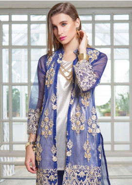 Azure Embroidered Organza Unstitched Kurties AZU19F 07 DARK HEAVEN - Festive Collection