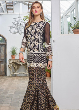 Azure Embroidered Chiffon Unstitched Kurties AZU19F 08 NIGHT AURA - Festive Collection