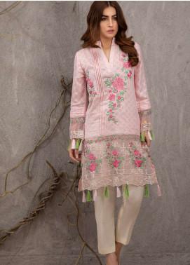 Azure Embroidered Cotton Net Unstitched Kurties AZU19K 07 - Luxury Collection