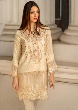 Azure Embroidered Cotton Net Unstitched Kurties AZU19K 12 - Luxury Collection