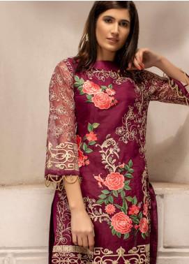 Azure Embroidered Organza Unstitched Kurties AZU19K 13 - Luxury Collection