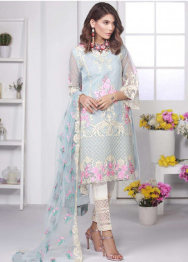 Azure Embroidered Chiffon Unstitched 3 Piece Suit AZE18C 01 - Luxury Collection