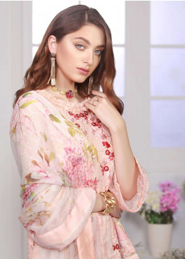 Azure Embroidered Chiffon Unstitched 3 Piece Suit AZE18C 02 - Luxury Collection
