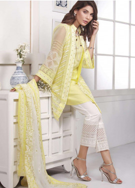 Azure Embroidered Chiffon Unstitched 3 Piece Suit AZE18C 04 - Luxury Collection