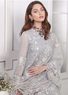 Azure Embroidered Chiffon Unstitched 3 Piece Suit AZE18C 05 - Luxury Collection