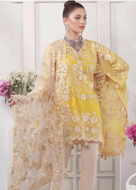 Azure Embroidered Chiffon Unstitched 3 Piece Suit AZU19E 02 FLORESCENT ZEAL - Eid Collection