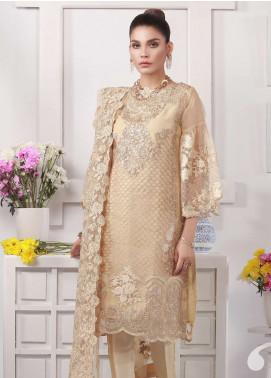 Azure Embroidered Organza Unstitched 3 Piece Suit AZU19E 03 GOLD ELEANOR - Eid Collection
