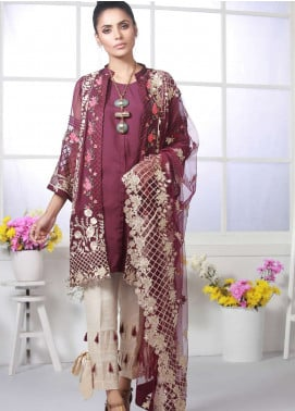 Azure Embroidered Chiffon Unstitched 3 Piece Suit AZU19E 08 BERRY FLAKE - Eid Collection