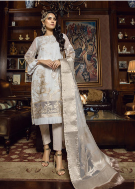 Azure Embroidered Organza Unstitched 3 Piece Suit AZU19-C3 02 VINTAGE HAZE - Festive Collection