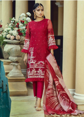 Azure Embroidered Organza Unstitched 3 Piece Suit AZU19-C3 03 BLOOMING FIRE - Festive Collection