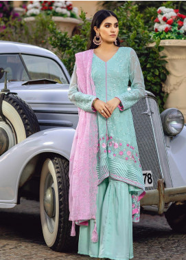 Azure Embroidered Chiffon Unstitched 3 Piece Suit AZU19-C3 05 MINTY ROSE - Festive Collection