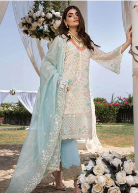 Azure Embroidered Chiffon Unstitched 3 Piece Suit F20AZU 01 SKY LUCID - Festive Collection