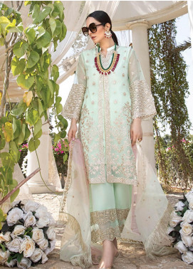 Azure Embroidered Organza Unstitched 3 Piece Suit F20AZU 02 FREESIA GLAM - Festive Collection