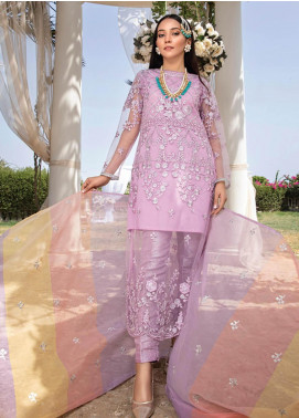 Azure Embroidered Net Unstitched 3 Piece Suit F20AZU 03 DOVE GLAMOUR - Festive Collection