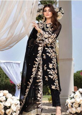 Azure Embroidered Chiffon Unstitched 3 Piece Suit F20AZU 05 BLACK SWAN - Festive Collection