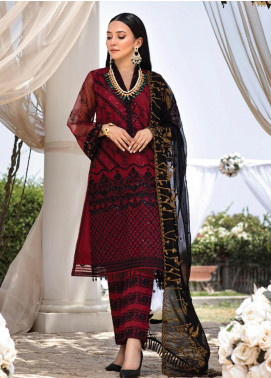 Azure Embroidered Organza Unstitched 3 Piece Suit F20AZU 06 RED NIGHTINGALE - Festive Collection