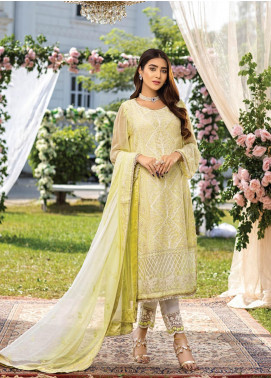 Azure Embroidered Chiffon Unstitched 3 Piece Suit AZU20LC 05 OLIVE ORE - Luxury Collection