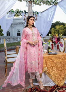 Azure Embroidered Chiffon Unstitched 3 Piece Suit AZU20LC 07 BLOOMING RUSH - Luxury Collection