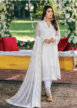 Azure Embroidered Chiffon Unstitched 3 Piece Suit AZU20LC 08 FLAMINGO - Luxury Collection