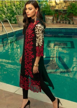 Azure Embroidered Chiffon Unstitched Kurties AZU19-E4 04 BURNT BERRIES - Luxury Collection