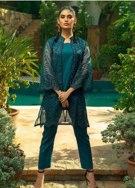 Azure Embroidered Organza Unstitched Kurties AZU19-E4 07 EARTHY BLUE - Luxury Collection