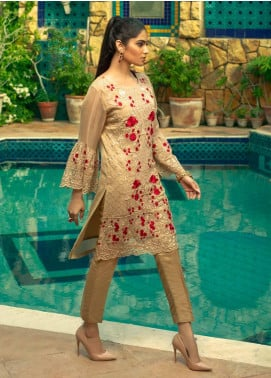 Azure Embroidered Chiffon Unstitched Kurties AZU19-E4 08 TUSCAN ROSE - Luxury Collection