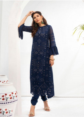 Azure Embroidered Chiffon Unstitched Kurties AZU19-E3 05 MYSTERE BLUES - Luxury Formal Collection