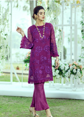 Azure Embroidered Chiffon Unstitched Kurties AZU20LF 03 IRIS BLOOM - Luxury Collection