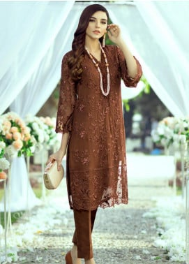 Azure Embroidered Chiffon Unstitched Kurties AZU20LF 05 AUTUMN NIGHTS - Luxury Collection