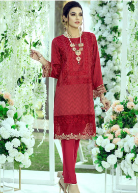 Azure Embroidered Cotton Net Unstitched Kurties AZU20LF 09 ROSY GLAMOUR - Luxury Collection