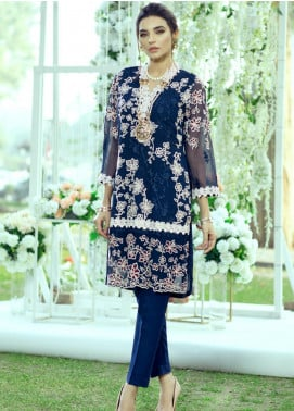 Azure Embroidered Chiffon Unstitched Kurties AZU20LF 10 SAPPHIRE ROSE - Luxury Collection