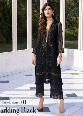 Azure Embroidered Chiffon Unstitched Kurties AZU20-LF2 01 Sparkling Black - Luxury Collection