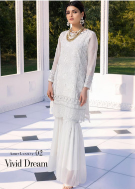Azure Embroidered Chiffon Unstitched Kurties AZU20-LF2 02 Vivid Dream - Luxury Collection