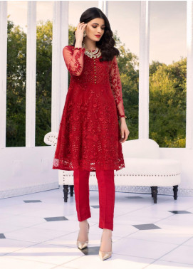 Azure Embroidered Chiffon Unstitched Kurties AZU20-LF2 03 Scarlet Embody - Luxury Collection