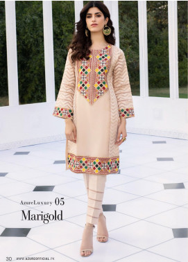Azure Embroidered Organza Unstitched Kurties AZU20-LF2 05 Marigold - Luxury Collection