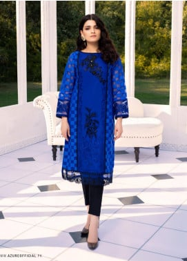 Azure Embroidered Organza Unstitched Kurties AZU20-LF2 06 Cobalt Escape - Luxury Collection