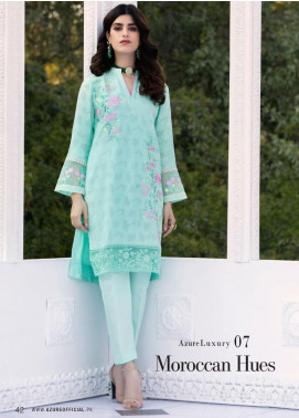 Azure Embroidered Cotton Net Unstitched Kurties AZU20-LF2 07 Moroccan Hues - Luxury Collection