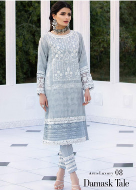 Azure Embroidered Cotton Net Unstitched Kurties AZU20-LF2 08 Damask Tale - Luxury Collection