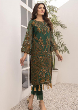 Azure Embroidered Organza Unstitched Kurties AZU21FK 01 Daffodil - Luxury Formal Collection