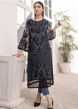 Azure Embroidered Organza Unstitched Kurties AZU21FK 02 Mystic Grey - Luxury Formal Collection