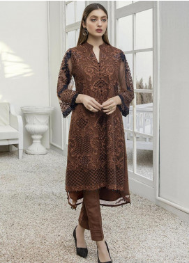 Azure Embroidered Net Unstitched Kurties AZU21FK 03 Autumn Hues - Luxury Formal Collection