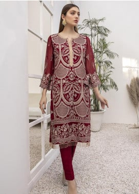 Azure Embroidered Chiffon Unstitched Kurties AZU21FK 04 Rouge Gold - Luxury Formal Collection